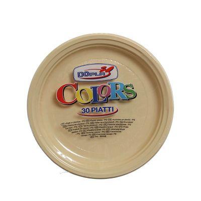 Piatti di plastica piani colorati DOpla Colors Ø22 crema