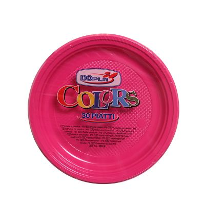 Piatti di plastica piani colorati DOpla Colors Ø22 fucsia