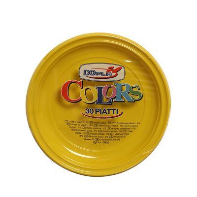 Piatti di plastica piani colorati DOpla Colors Ø22 giallo