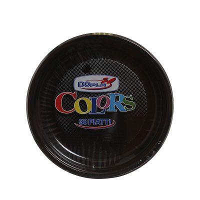 Piatti di plastica piani colorati DOpla Colors Ø22 nero