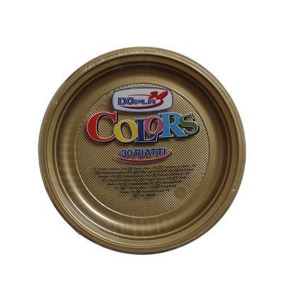 Piatti di plastica piani colorati DOpla Colors Ø22 cm oro