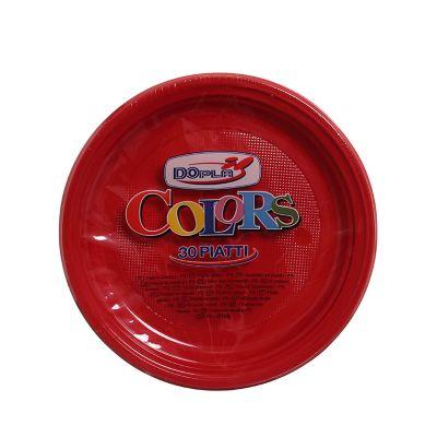 Piatti di plastica piani colorati DOpla Colors Ø22 rosso