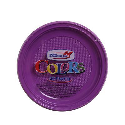 Piatti di plastica piani colorati DOpla Colors Ø22 viola