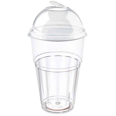 Bicchieri rigidi con coperchio bombato apribile