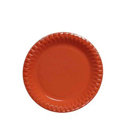 Piatti di carta arancio in cartoncino per feste DOpla Party Ø23 cm