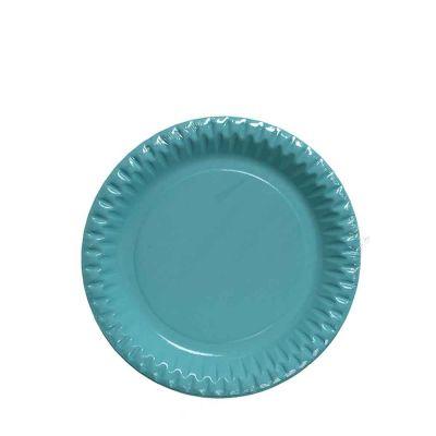 Piatti di carta azzurri in cartoncino per feste DOpla Party Ø23 cm