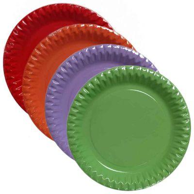 Piatti di carta in cartoncino per feste Ø23 cm colori a scelta