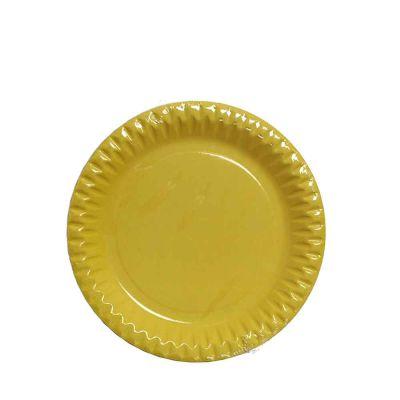 Piatti di carta gialli in cartoncino per feste DOpla Party Ø23 cm