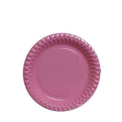 Piatti di carta rosa in cartoncino per feste DOpla Party Ø23 cm