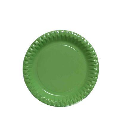 Piatti di carta verde acido in cartoncino per feste DOpla Party Ø23 cm