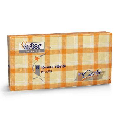 30 Tovaglie di carta 100x100 cm scozzese arancio 255-6SA