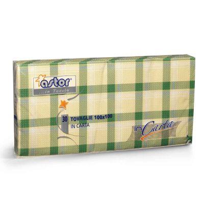 30 Tovaglie di carta 100x100 cm scozzese verde 255-6SV