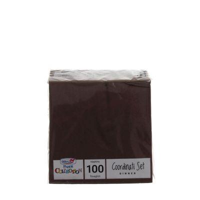 Tovaglioli di carta per cocktail 25x25cm marrone cioccolato