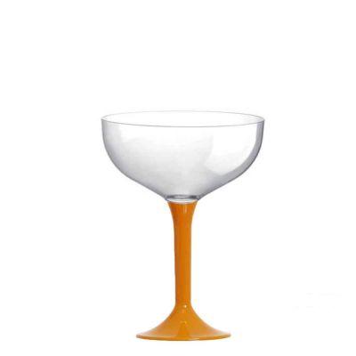 Coppe champagne riutilizzabili in plastica gambo giallo 205 ml