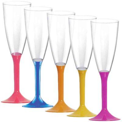 Calici Flute riutilizzabili in plastica colorata 120ml