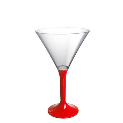20 Coppe cocktail Martini lavabili rosse 185cc