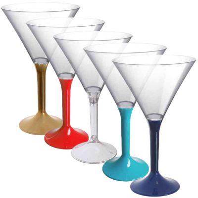 Coppe aperitivo Martini riutilizzabili in plastica colorata 185ml