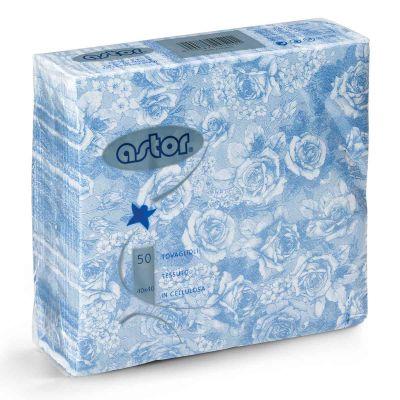 Tovaglioli in tessuto di carta airlaid 40x40 cm rose azzurre