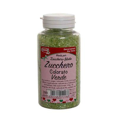 Cristalli di zucchero colorato verde per decorazioni e zucchero filato 200 g