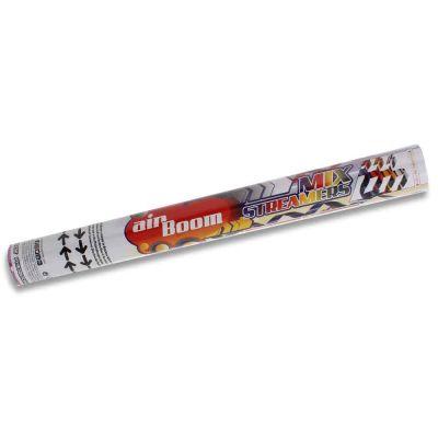 Tubo sparacoriandoli ad aria compressa Pyrogiochi Air Boom 45 cm mix stelle filanti