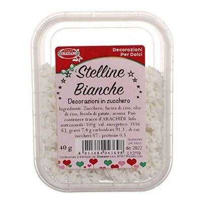 Stelline piccole di zucchero bianco per decorazione 40 g Graziano