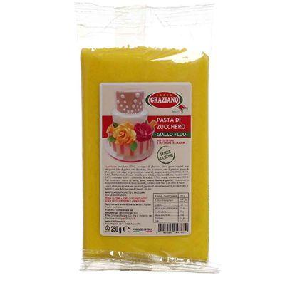 Pasta di zucchero giallo fluo per copertura 250 g Graziano