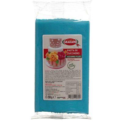 Pasta di zucchero azzurro fluo 250 g