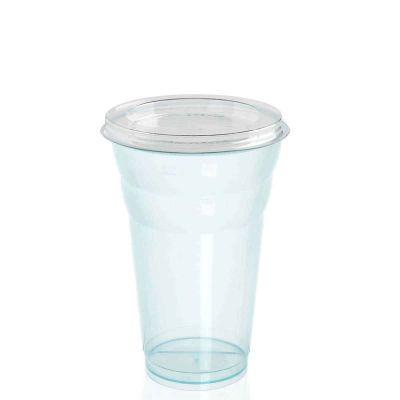 Bicchieri per frullato e frappè azzurro con coperchio piatto chiuso