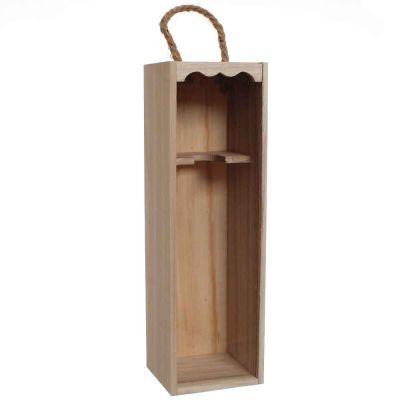 Cassetta in legno per 1 bottiglia vino da 75 cl con coperchio trasparente