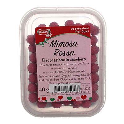 Palline di zucchero rosse Mimosa per decorazione 40 g Graziano