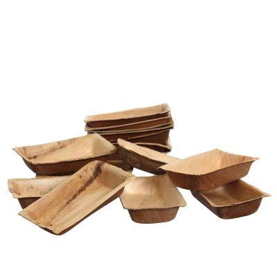 25 Vaschette piccole rettangolari in foglia di palma naturale 12x7xh2,5 cm