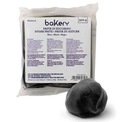 Pasta di zucchero nera professionale 500 g Bakery
