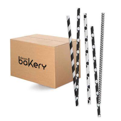 Cannucce biodegradabili in carta fantasie bianco e nero Bakery