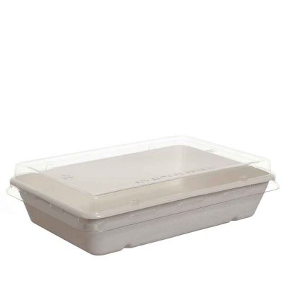 Vaschetta rettangolare compostabili con coperchio