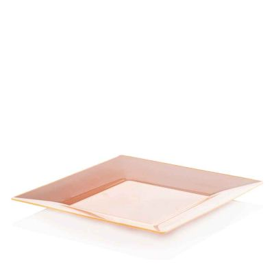 Piatti di plastica rigida quadrati Spigolo arancio fluo 23x23