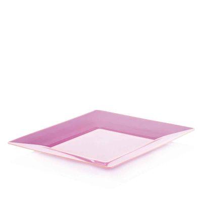 Piatti di plastica rigida quadrati Spigolo fucsia fluo 23x23