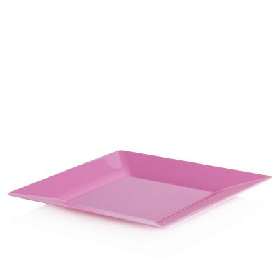 Piatti di plastica rigida quadrati Spigolo fucsia 23x23