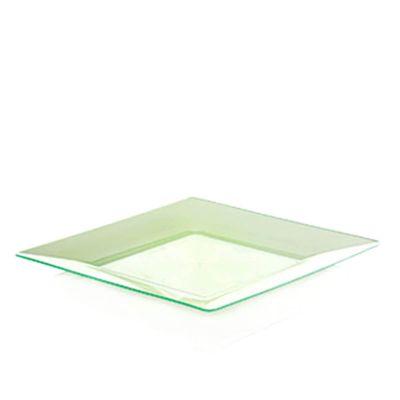 Piatti di plastica rigida quadrati Spigolo verde fluo 23x23 cm
