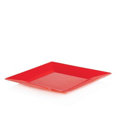 Piatti di plastica rigida quadrati Spigolo rosso 23x23 cm