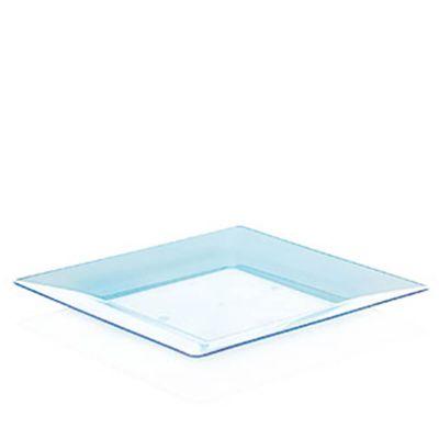 Piatti di plastica rigida quadrati Spigolo azzurro fluo 23x23 cm