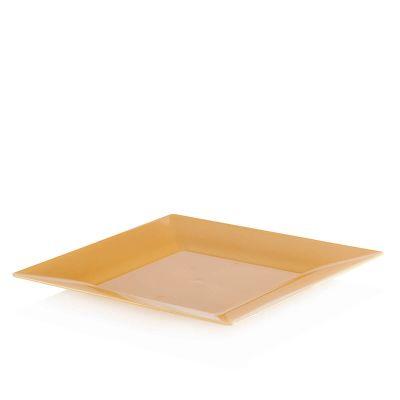 Piatti di plastica rigida quadrati Spigolo oro 23x23 cm