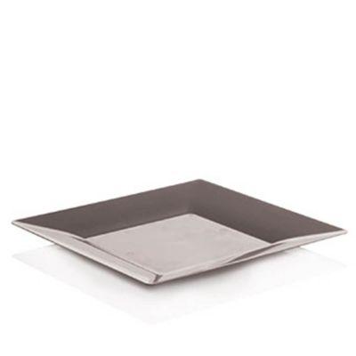 Piatti di plastica rigida quadrati Spigolo argento 23x23 cm