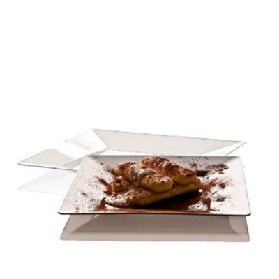 Piatti di plastica rigida quadrati Spigolo bianco 23x23 cm