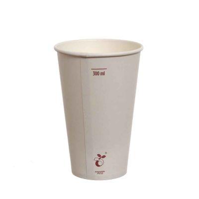 Bicchieri compostabili in cartoncino bianco 350 ml