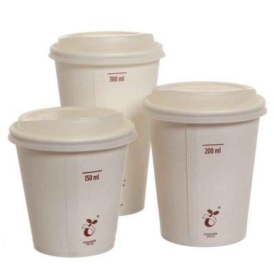 Bicchieri compostabili in cartoncino bianco con coperhio varie misure