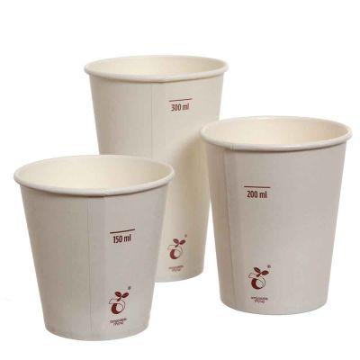 50 Bicchieri compostabili in cartoncino bianco