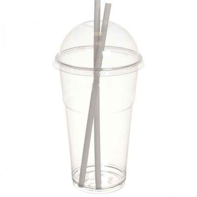 Bicchieri Kristal PET grandi 650cc con coperchio a cupola con foro