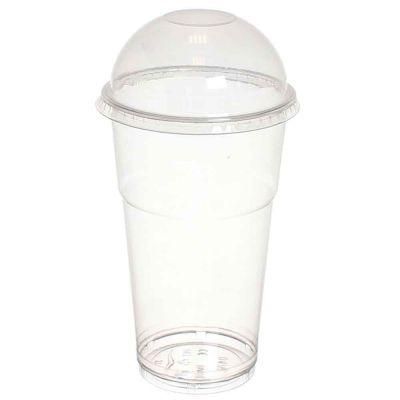 Bicchieri Kristal PET grandi 650cc con coperchio bombato senza foro
