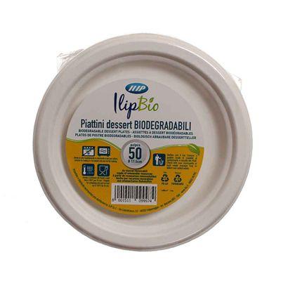 Piatti piccoli rotondi in polpa di cellulosa Ilip BIO Ø17,5 cm
