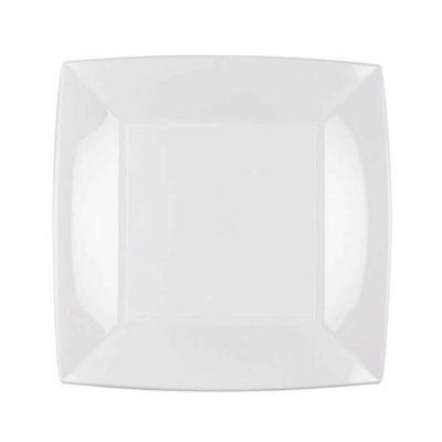 Piatti quadrati lavabili per microonde bianchi 23x23 cm